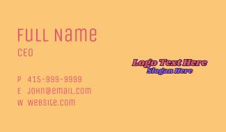 70s Hippie Wordmark  Business Card