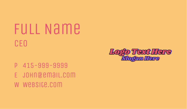 seventies - 70s Hippie Wordmark  Business card horizontal design