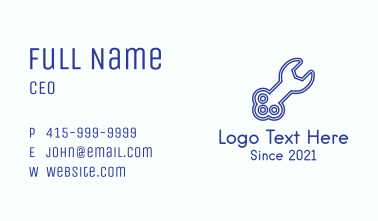 Blue Key Wrench Business Card