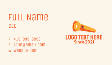 Orange Flashlight  Business Card