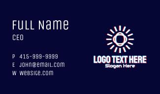 Glitchy Sunburst Tech Business Card
