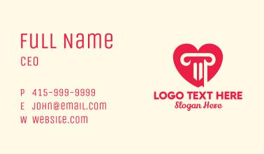 Pink Pillar Heart Business Card