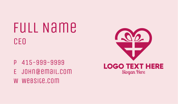 matchmaking - Valentine's Day Heart Present  Business card horizontal design