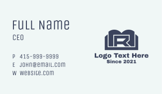 Blue Book Letter R Business Card