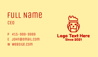 Red Chicken Cup Business Card