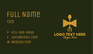 Gold Bow Tie Restaurant   Business Card