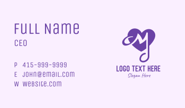 Love Note Letter M Business Card