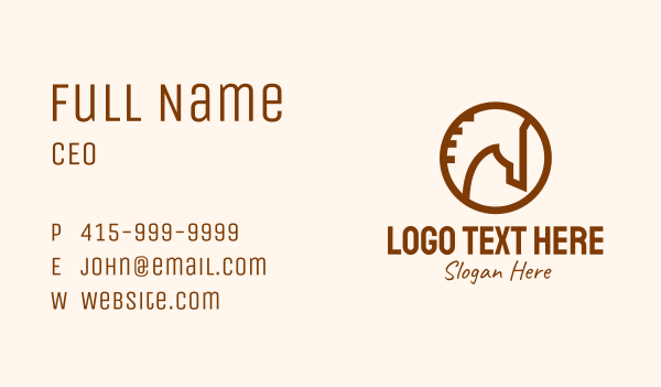steed - Brown Round Horse  Business card horizontal design