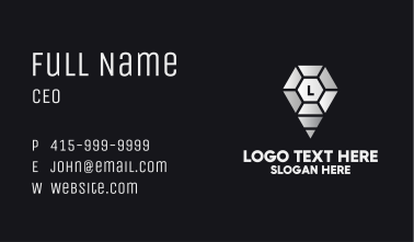 Jewel Location Pin Lettermark Business Card