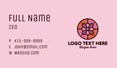 Orchid Flower Stained Glass Business Card