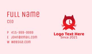 Ribbon Cat Head  Business Card