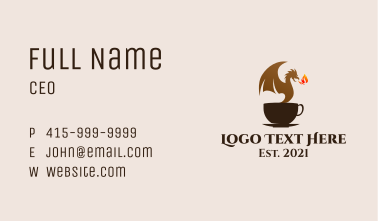 Dragon Coffee Cup  Business Card