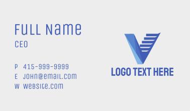 Blue Letter V Staircase Business Card
