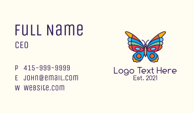Colorful Butterfly Kite Business Card