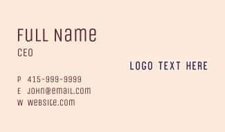 Green Comic Wordmark Business Card