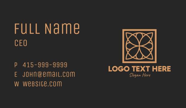 interior decorator - Elegant Floral Tile Pattern  Business card horizontal design