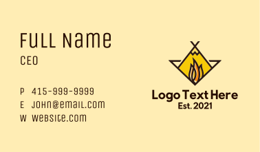 Fire Camping Adventure Business Card