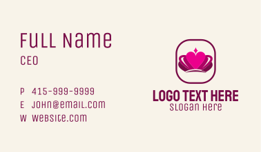 Pink Heart Crown Business Card