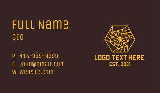 Yellow Hexagon Spiral Business Card