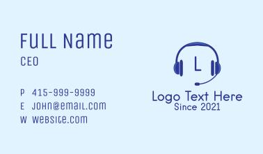 Blue Headphones Letter Business Card