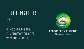 3D Green Gaming Sphere Business Card