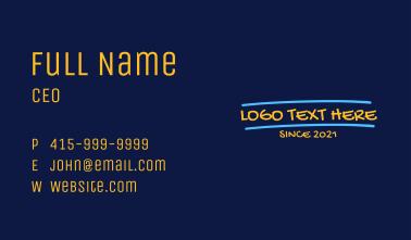 Handwritten Graffiti Wordmark Business Card