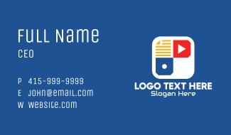 Multimedia App Letter P Business Card