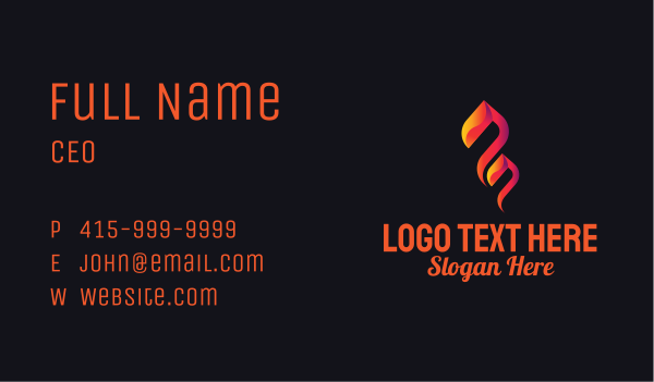 gas station - Blazing Flame Petrol  Business card horizontal design