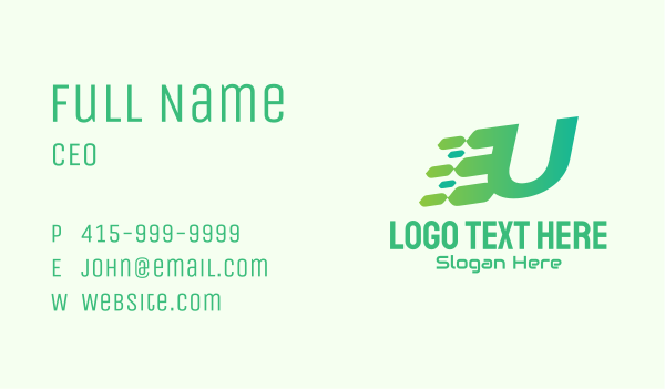 computer science - Green Speed Motion Letter U Business card horizontal design