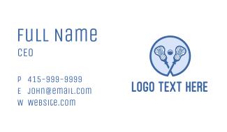 Blue Lacrosse Sticks Business Card