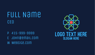 Geometric Nucleus Atom Business Card