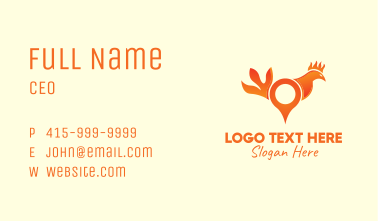 Orange Rooster Location Pin Business Card