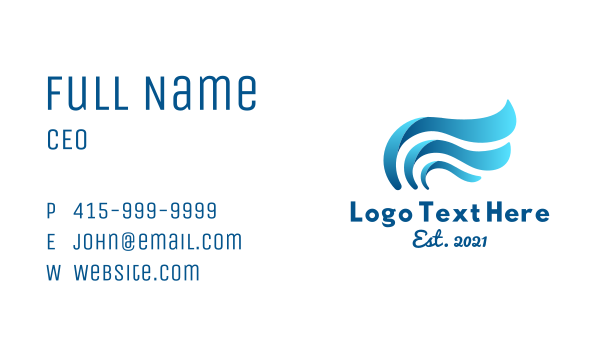 sea waves - Blue Wave Wings Business card horizontal design