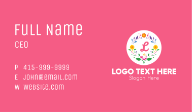 Colorful Spring Wreath Lettermark Business Card