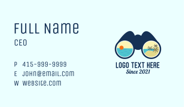 Beach Resort Binocular Business Card