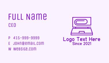 Paper Clip Laptop Business Card