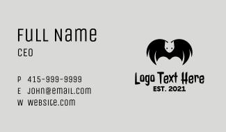 Halloween Black Bat Business Card