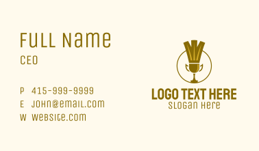 Gold Badminton Trophy  Business Card