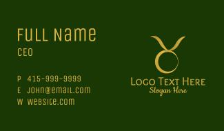Gold Taurus Horoscope Symbol Business Card