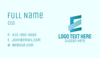 Blue Line Motion Letter E Business Card