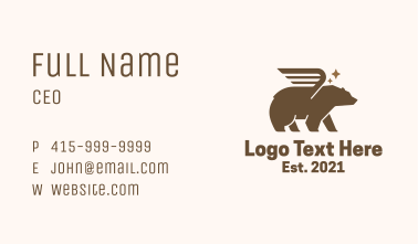 Winged Grizzly Bear Business Card