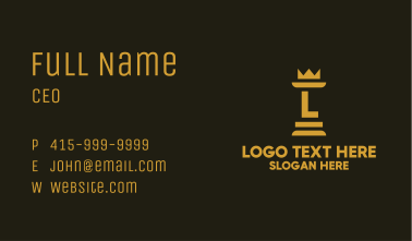 Gold Chess Royalty Letter Business Card