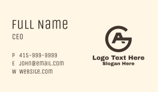 Minimalist Letter A & G Business Card