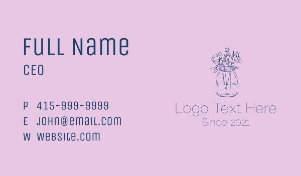 delicate - Flower Jar Arrangement  Business card horizontal design
