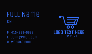 Online Grocery Cart  Business Card