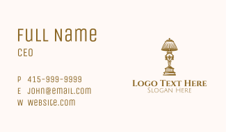 Vintage Victorian Gold Lamp Business Card