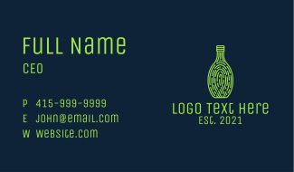 Wine Bottle Thumbmark  Business Card