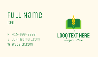 Agricultural Wheat Book Business Card