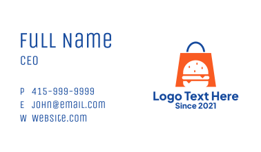 Burger Shopping Bag  Business Card