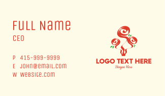 Red Roses Bouquet  Business Card